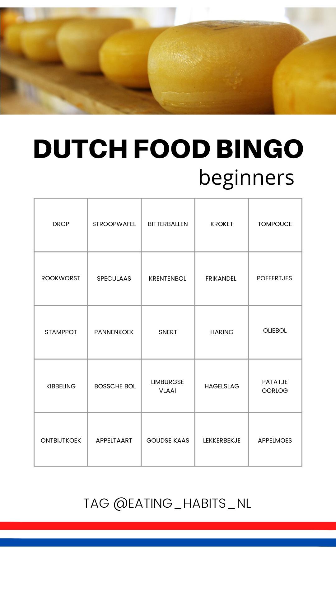 Dutch food bingo beginners - Eating Habits