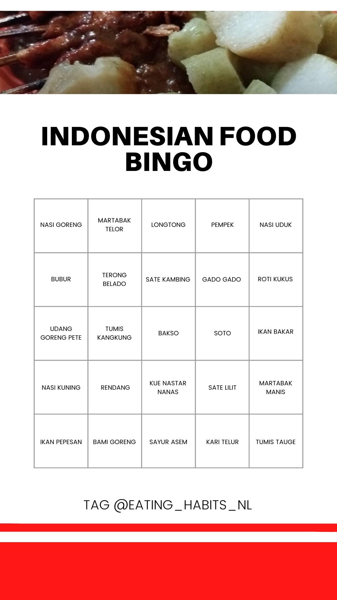 Indonesian food bingo - Eating Habits